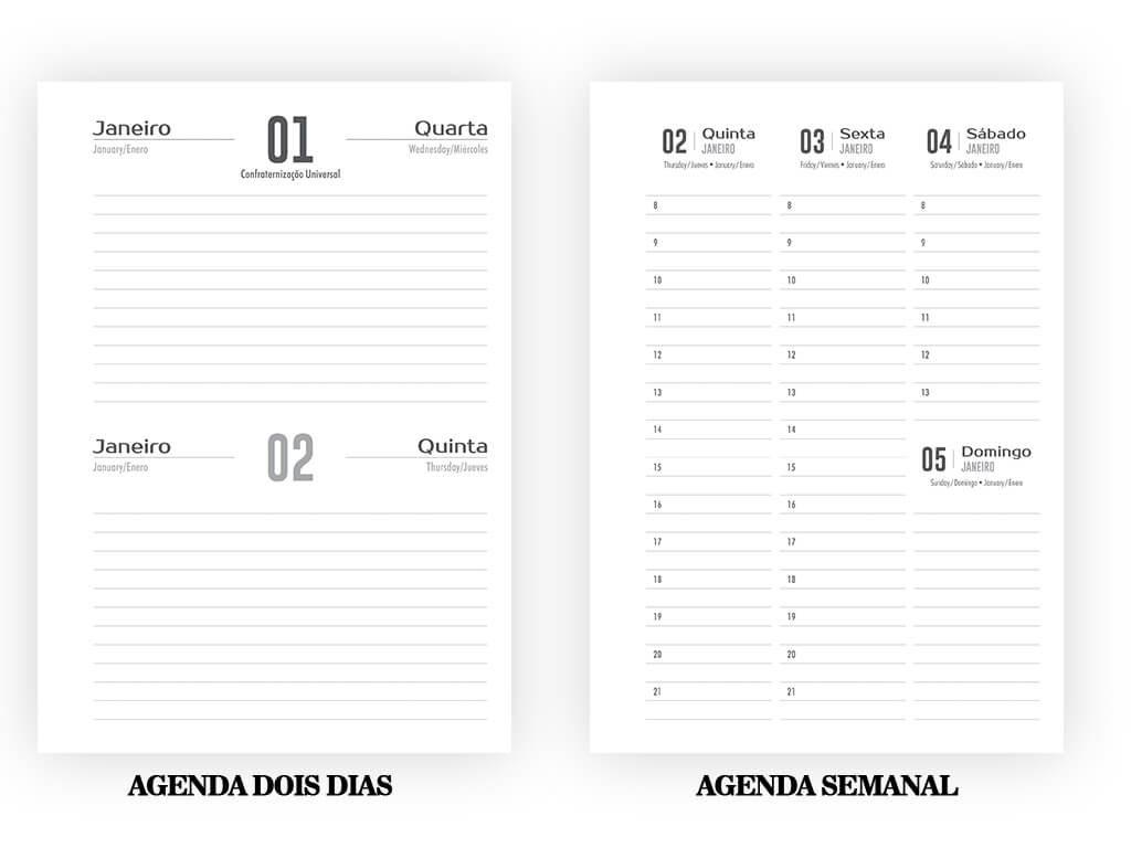 Agenda Dois Dias por Página e Agenda Semanal - Gráfica Cartões Mais Barato